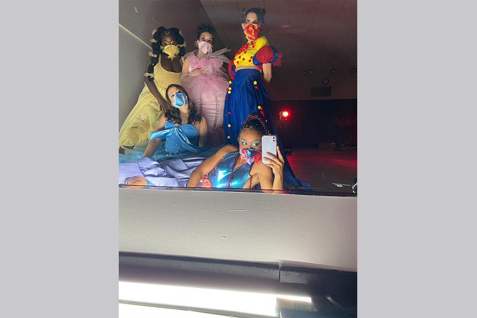 Drama students Aisha Sougou as Belle, Shreya Muju as Aurora, Belle Le as Cinderella, Bailey James as Ariel and Vittoria Alonso as Snow White. / Photo courtesy of Bailey James