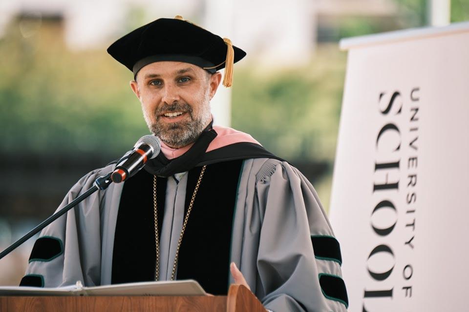 Chancellor Brian Cole addresses graduates at the UNCSA 2021 High School Commencement