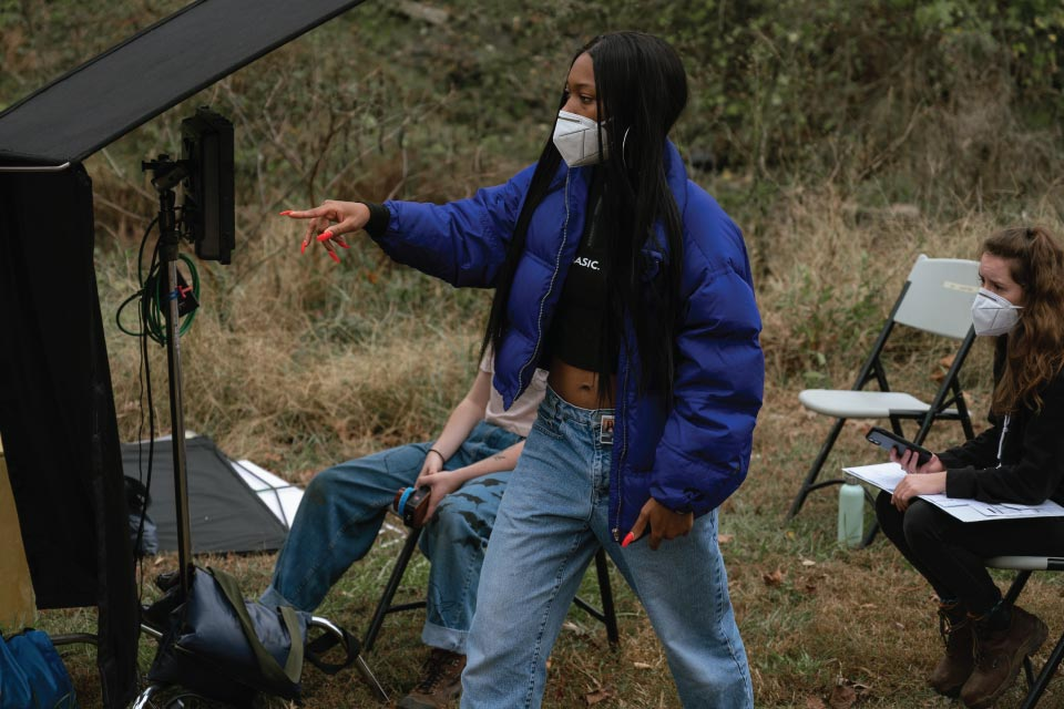 """Jo Hatcher works on the set of her fourth-year thesis film """"JAZMIN."""" / Photo: Georgia Lawrence"""