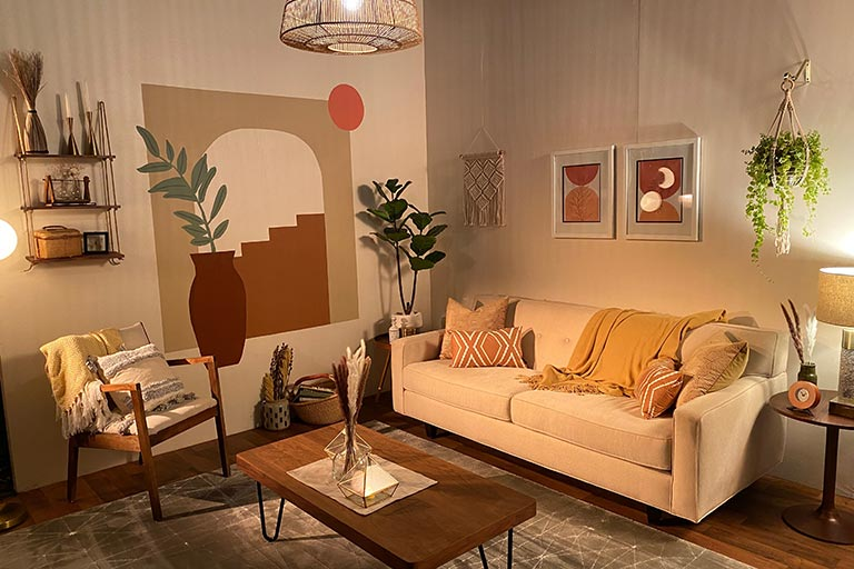 Shelby Grzech's completed mid-century modern-inspired set. Each of the designs went through several stages, including concept boards and digital drawings, before coming together on the sound stage.