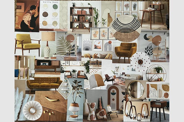 Concept board by Grzech for the mid-century modern set.
