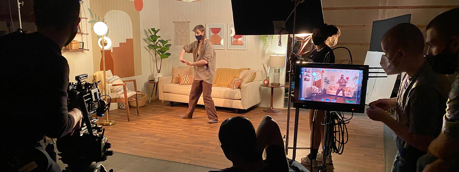 """Scene from """"Alone Together"""" on Selby Grzech's set inspired by mid-century modern design."""
