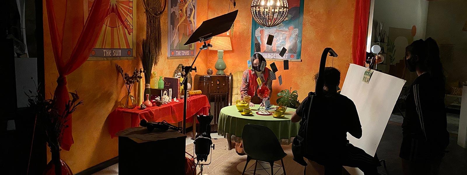 """Red Room"" was filmed on Wes Cowen's 60s-inspired Tarot card reader set."
