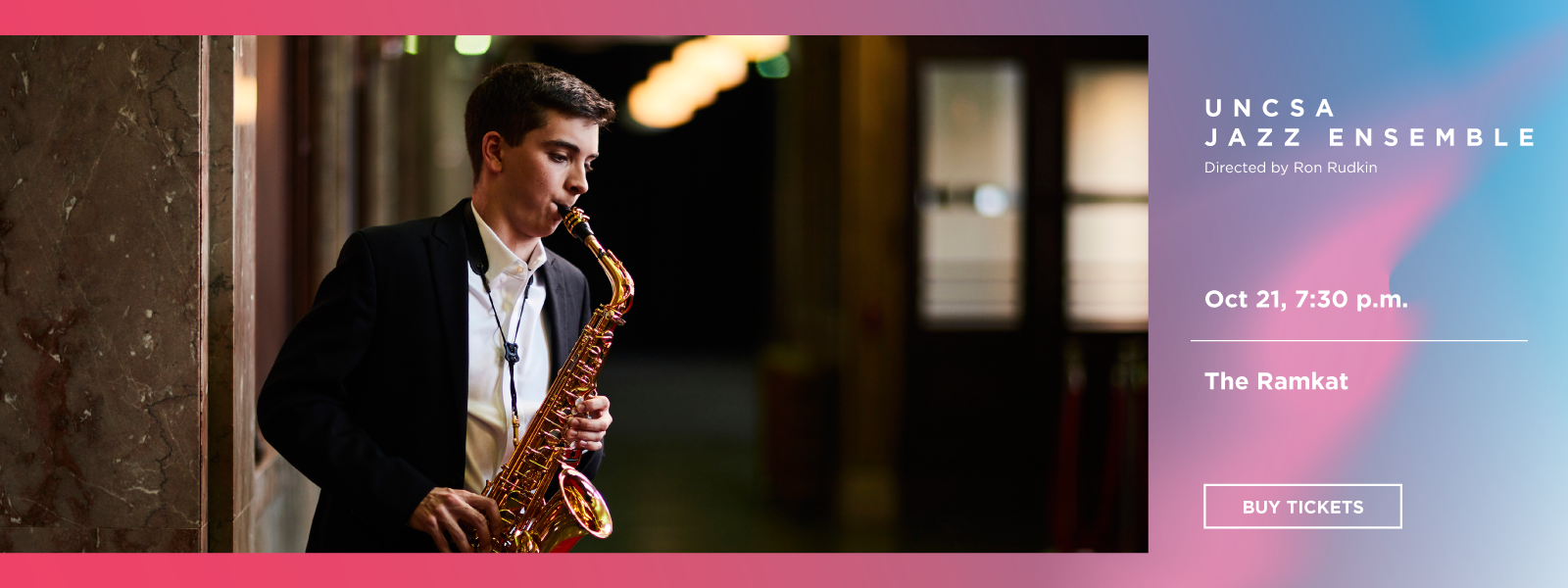 Award-winning Jazz Ensemble performs a varied program of styles, including traditional swing, Latin and contemporary at The Ramkat.>>BUY TICKETS