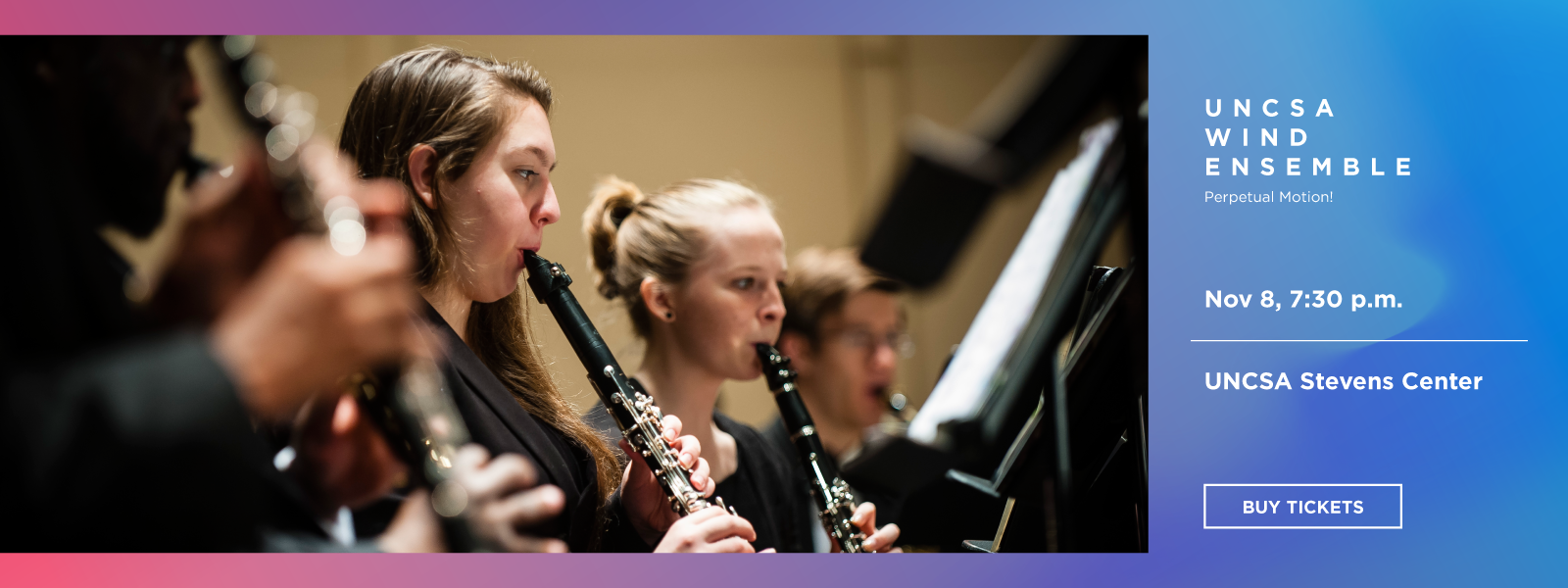 UNCSA artists come together with the Wind Ensemble to create an eclectic and energetic program of adventure, tributes and comedy.>>BUY TICKETS