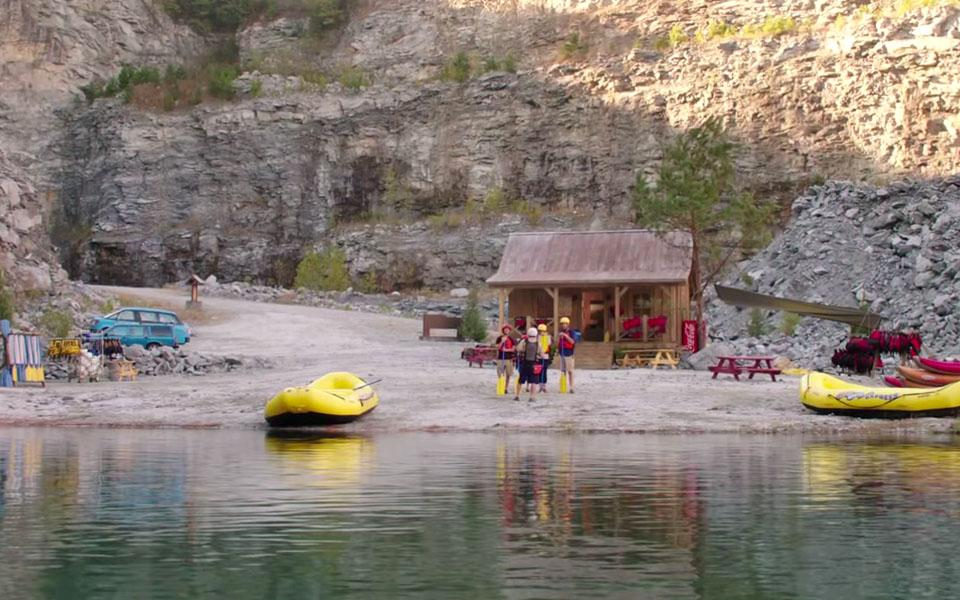 "The cast of the 2015 film ""Vacation"" in the whitewater rafting scene."