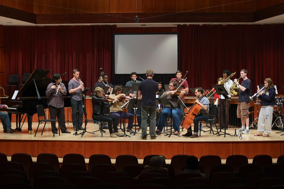 nu ensemble rehearsal in Watson Hall / Photo: G. Allen Aycock