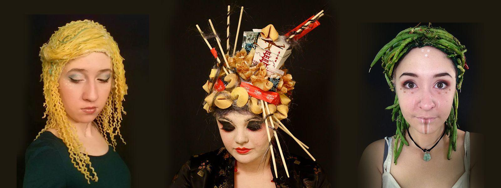 Undergraduate wig and makeup student work