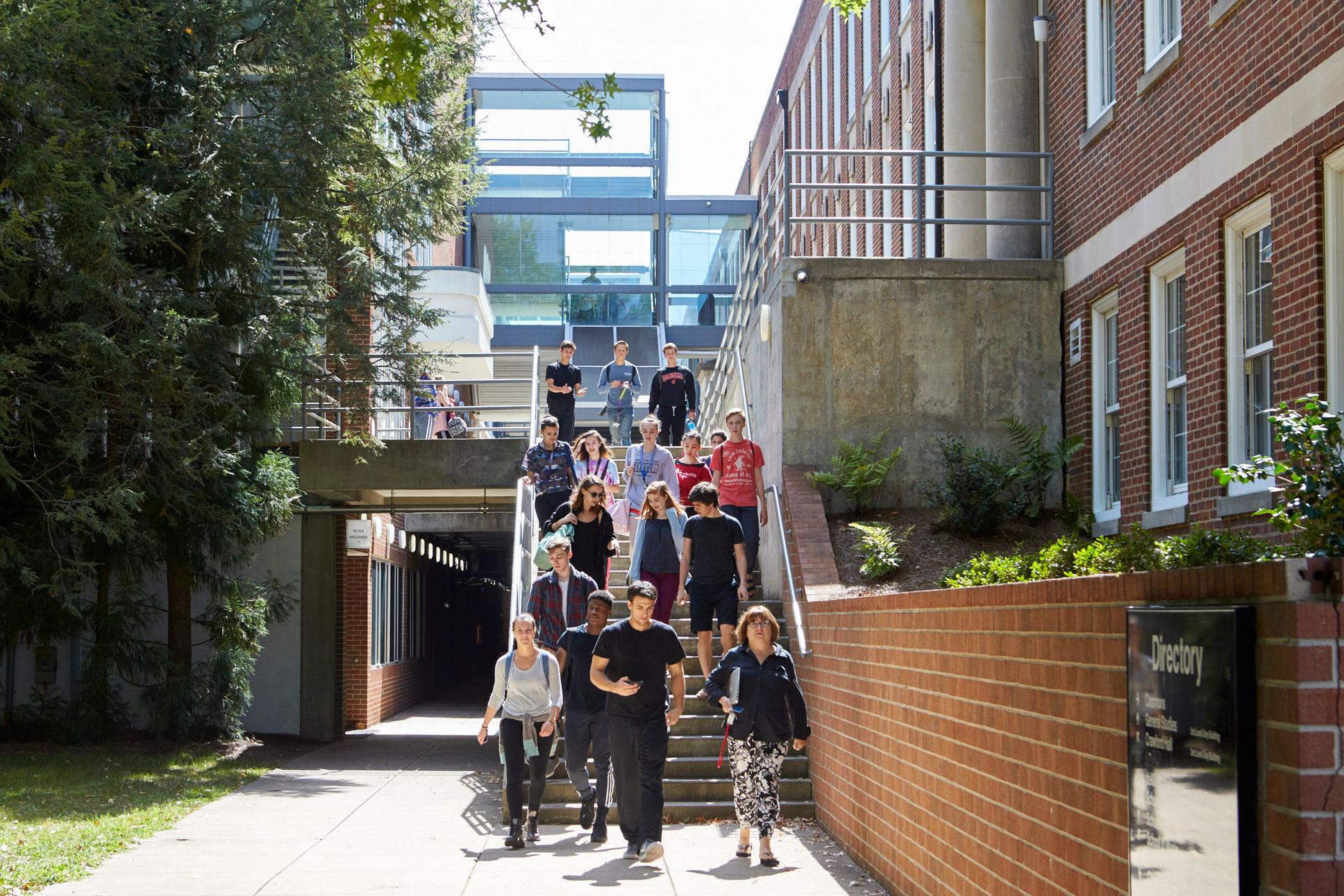 Today, the Gray Building (on the right) is connected to classrooms and studios in the Workplace Building by a series of stairwells. Photo: David Hillegas