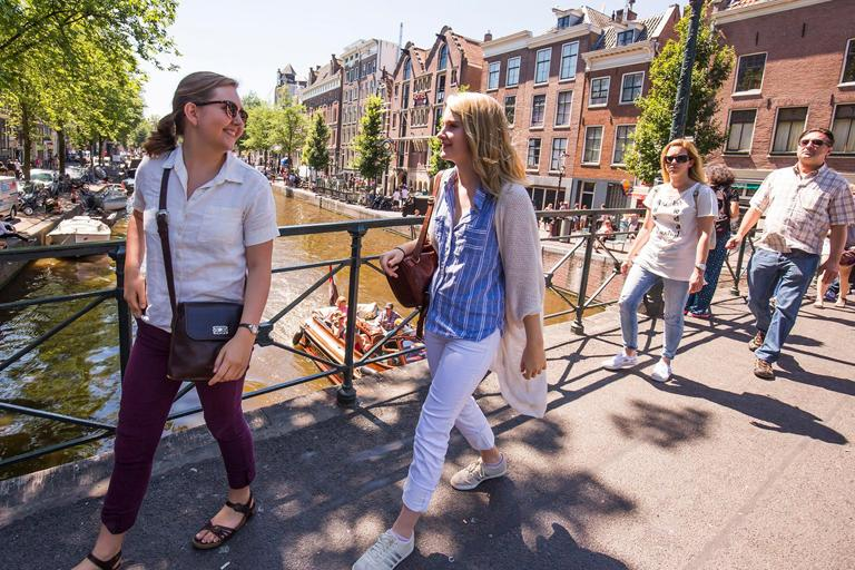 "Emilia ""Emi"" and Ella Sharpe enjoy the canal tour in Amsterdam, Holland. Photo: Chris Lee"