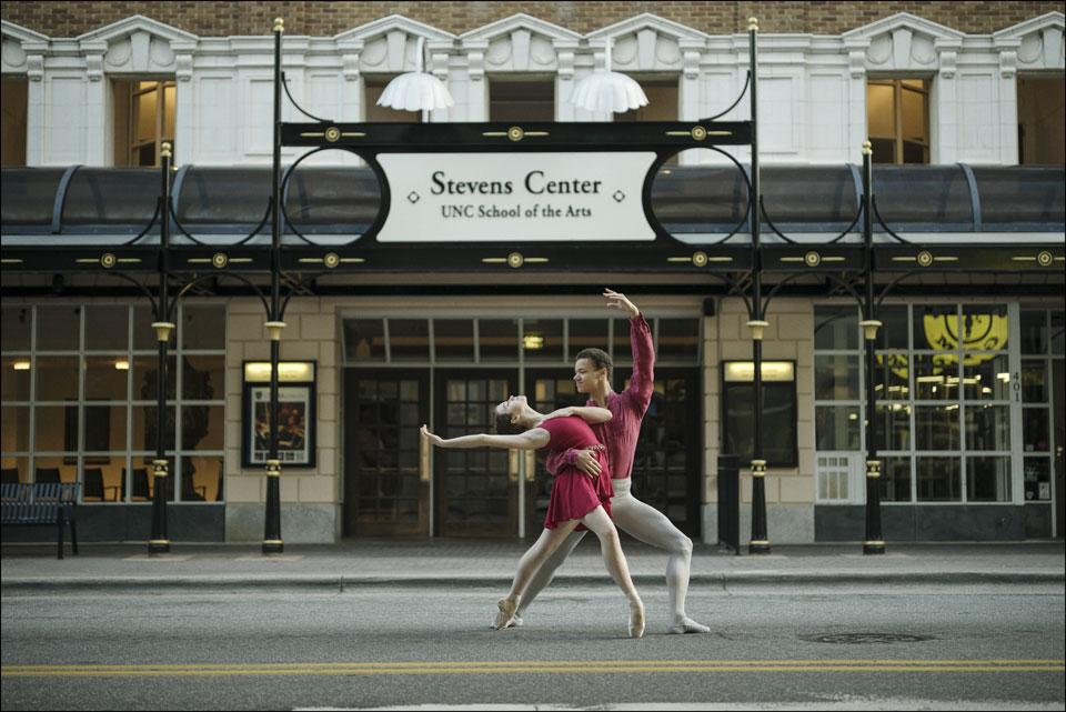 UNCSA ballet dancers strike a pose in front of today's Stevens Center. Photo: Dane Shitagi