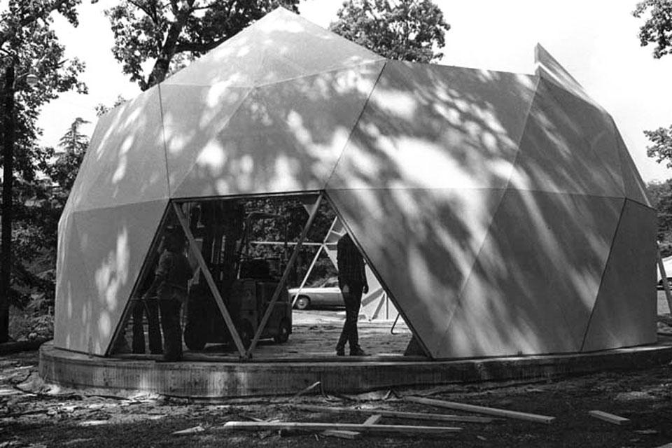 Geodesic dome theatre under construction on the site where the current Campus Police building now sits (1972). Photo: UNCSA Archives