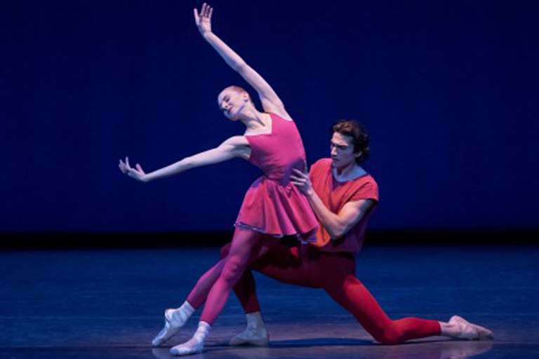 "Claire Kretzschmar and Zachary Catazaro dancing in ""Fearul Symmetries."""""