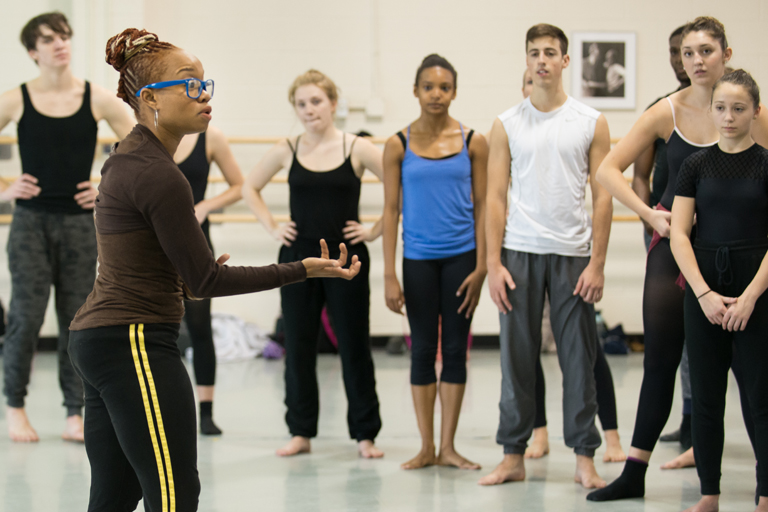 Camille Brown with contemporary dance students