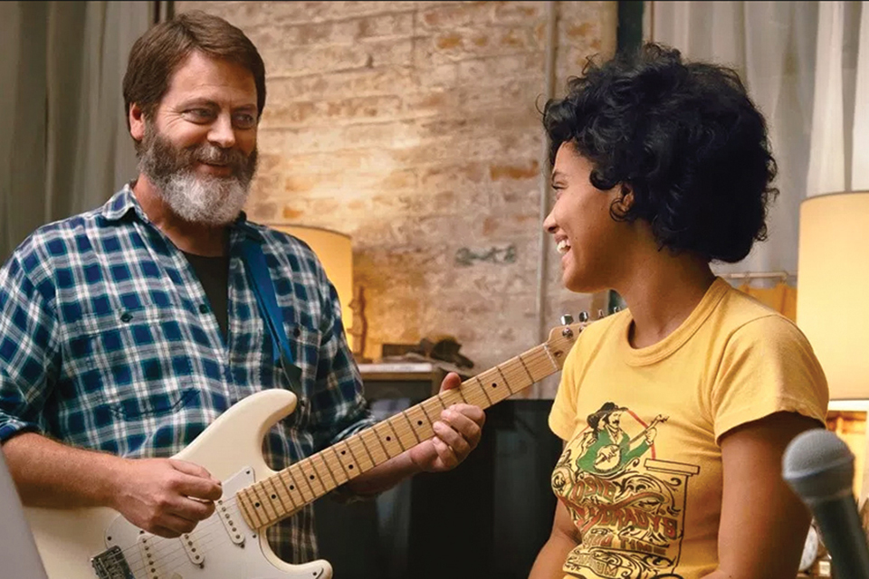"Kiersey Clemons and Nick Offerman in ""Hearts Beat Loud"""