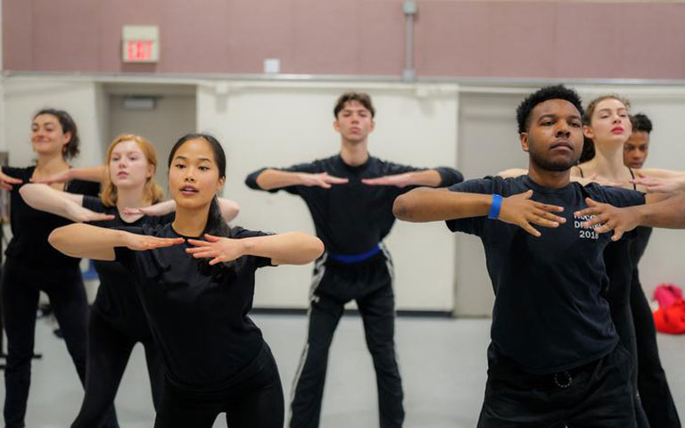 Drama students in a movement class