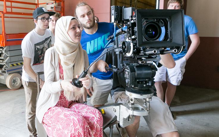 Safiya behind camera