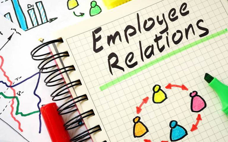 Employee Relations written in marker on graphic paper.