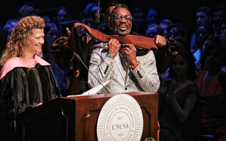 Honorary degree at commencement ceremony