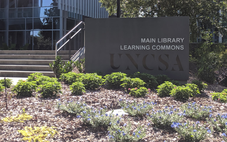 UNCSA Library sign