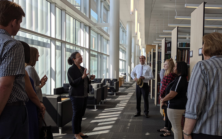 Staff taking a tour of the library