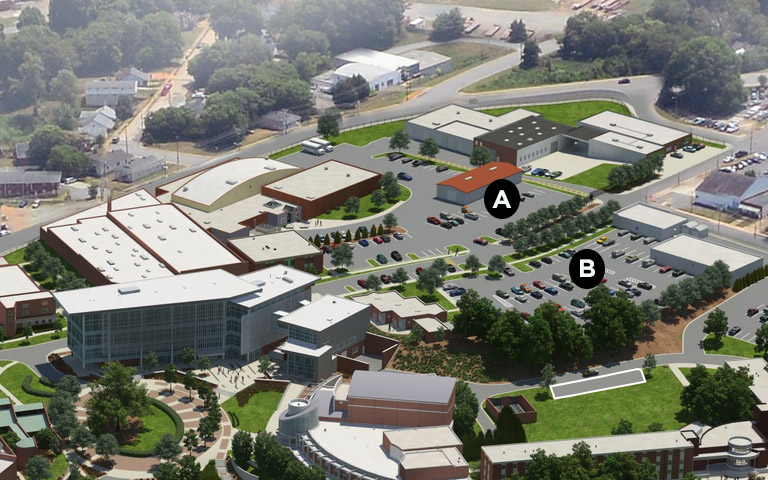 Parking lots A and B on campus map
