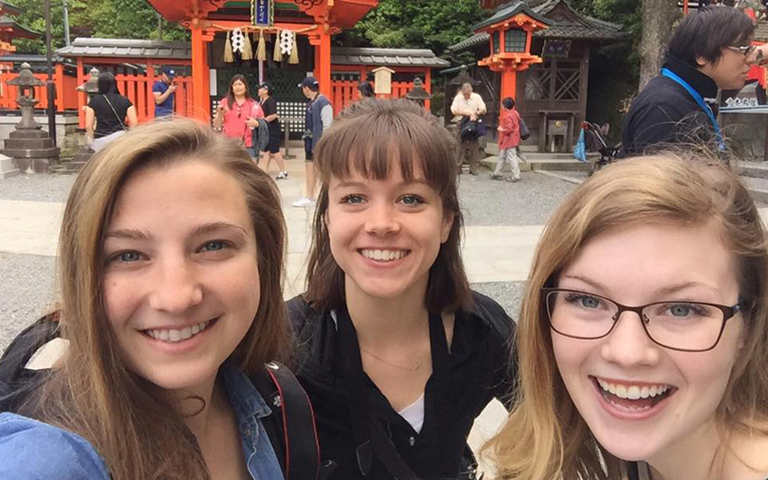 Three students abroad