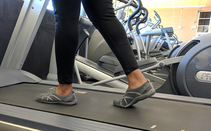 Person walking on a treadmill