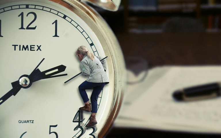 Person on clock