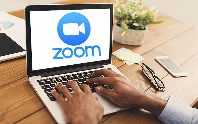 Zoom logo on a laptop computer