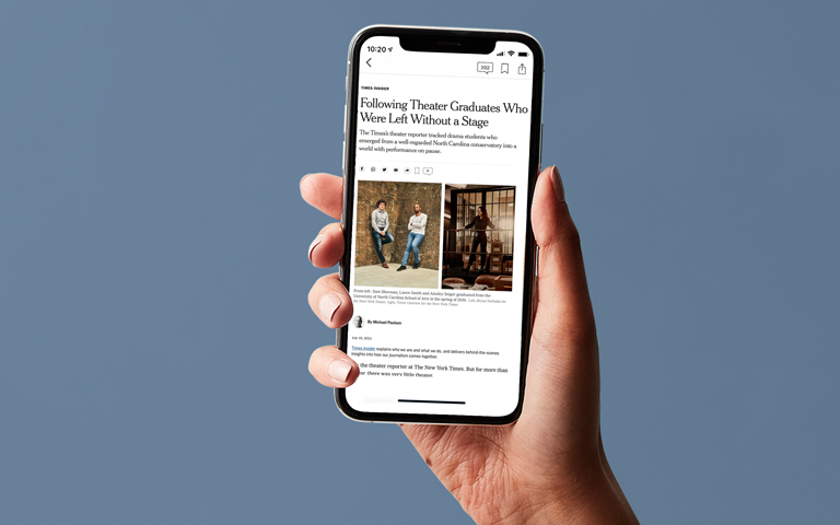 New York Times on cellphone