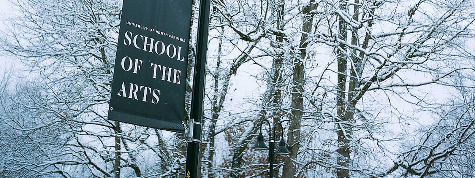 UNCSA banner in snow