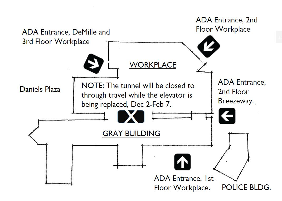 Temporary Access map to Workplace Building
