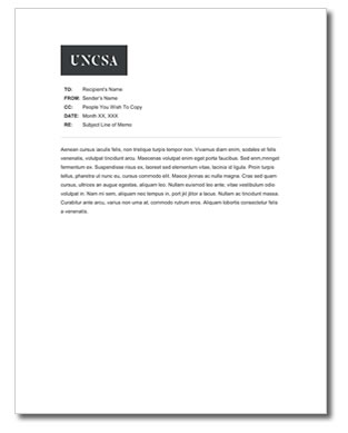 Example Of A UNCSA Memo Template  Memo Templete