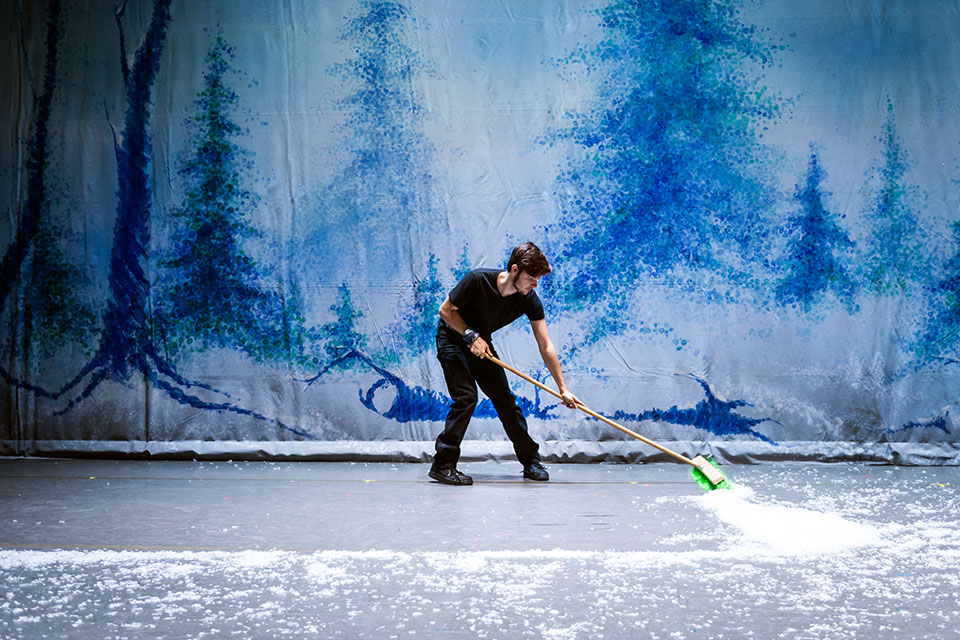 Sweeping snow at the Nutcracker