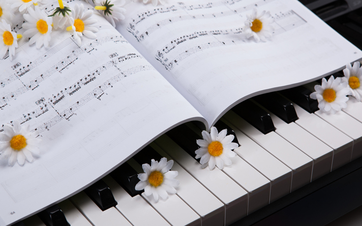 flowers and piano