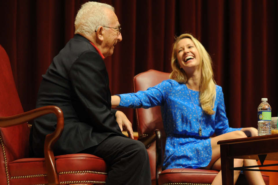 Gerald Freedman with Anna Camp on the UNCSA campus