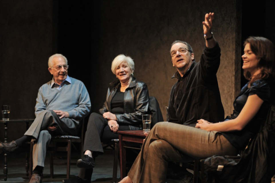 Gerald Freedman on the UNCSA campus with Mandy Patinkin, Olympia Dukaksi and alumna Missi Pyle