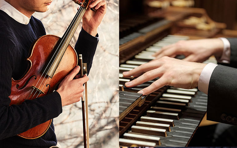 Hands playing flute and piano