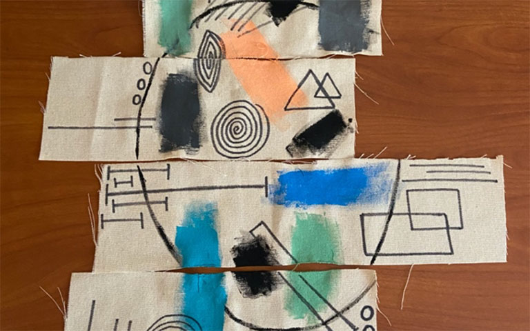 Abstract art on pieces of cloth